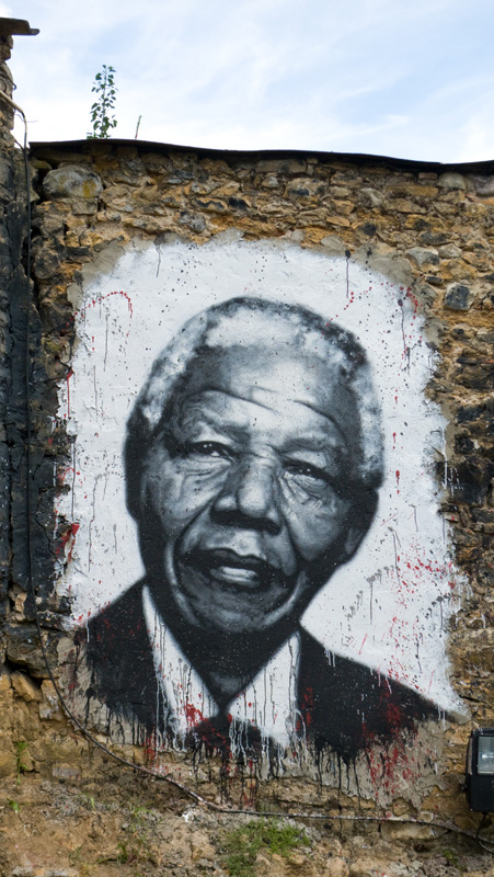 Nelson Mandela painted portrait 1918-2013 by Abode of Chaos/ La Demeure Du Chaos by thierry Ehrmann