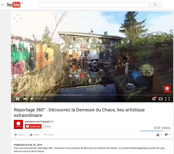 thierry ehrmann : En exclu sur Youtube et Facebook, les vidéos 360° de la Demeure du Chaos/Abode of Chaos réalisées par Euronews !