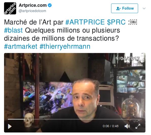 - Blast-teaser 2 par thierry Ehrmann fondateur et PDG d'Artprice : Quelques millions ou plusieurs dizaines de millions de transactions?