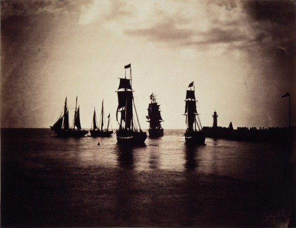 Gustave LE GRAY (1820-1884) Boats leaving the port of Le Havre (1856-57)