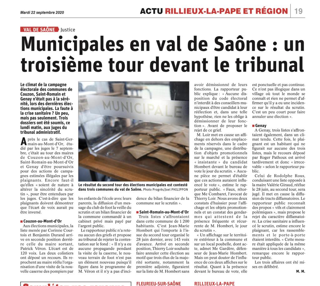 Municipales en val de Saône : un troisième tour devant le Tribunal